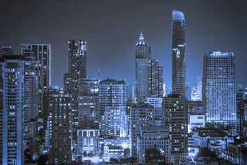 abstract cityscape with night light blue filter - can use to display or montage on product
