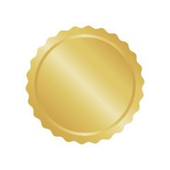 Modern gold circle metal badge, label and design elements. Vector illustration
