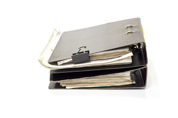 old file folder with documents and documents. retention of contracts. isolated white