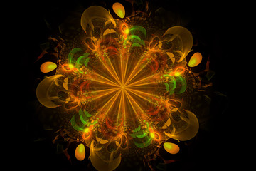 Decorative fractal abstract yellow flower on black background