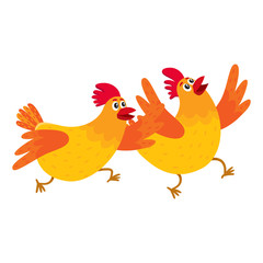 Two funny cartoon orange chickens, hens rushing, hurrying somewhere, jumping excitedly, vector illustration isolated on white background. Cute and funny chickens running somewhere enthusiastically
