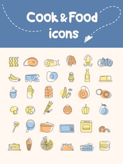 Cook and food icon.Vector illustrator.
