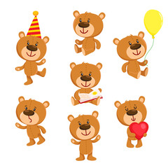 Set of cute teddy bear character standing, sitting, reading, cartoon vector illustration isolated on white background. Teddy bear character with balloon, red heart, book, standing, sitting, reading