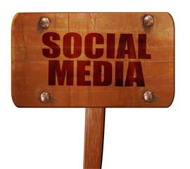 social media, 3D rendering, text on wooden sign