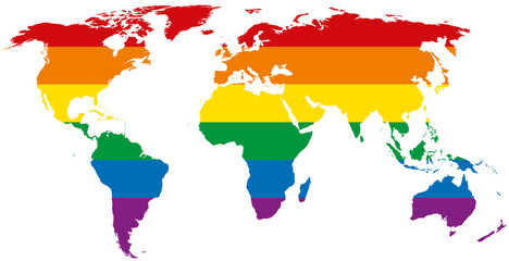 Gay pride world map. LGBT movement flag, consisting of six rainbow colored stripes in the silhouette of the world. Isolated illustration on white background. Vector.