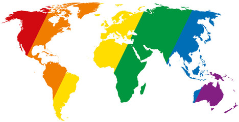 Gay pride world map with diagonal stripes. LGBT movement flag, consisting of six rainbow colored stripes in the silhouette of the world. Isolated illustration on white background. Vector.