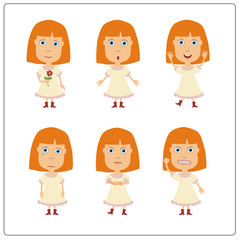 Vector set isolated funny girl. Collection cute girl in cartoon style.