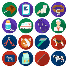 Veterinary clinic set icons in flat style. Big collection of veterinary clinic vector symbol stock illustration