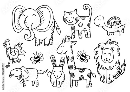 Cartoon animals. Doodle style