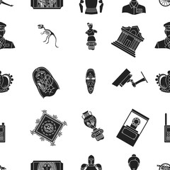 Museum pattern icons in black style. Big collection of museum vector symbol stock illustration