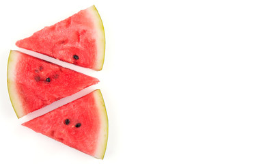 Three slices of watermelon, on white, with copy space