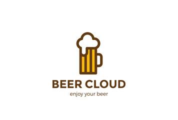 Beer Mug Logo design vector Linear Pub Bar Brewery Craft