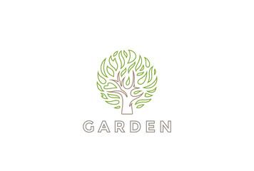 Tree Logo circle design vector Organic Natural Plant Logotype