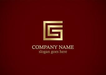 square line letter g gold logo