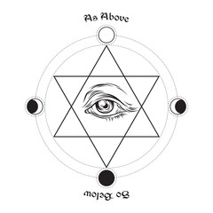 Hand drawn medieval esoteric style vector illustration. Eye of providence in the center of the hexagram. As above, so below - is a maxim in sacred geometry or hermeticism.
