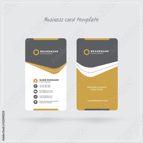 """""""Golden And Gray Vertical Business Card Print Template"""