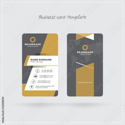 Golden and gray vertical business card print template double sided golden and gray vertical business card print template double sided personal visiting card with reheart Choice Image