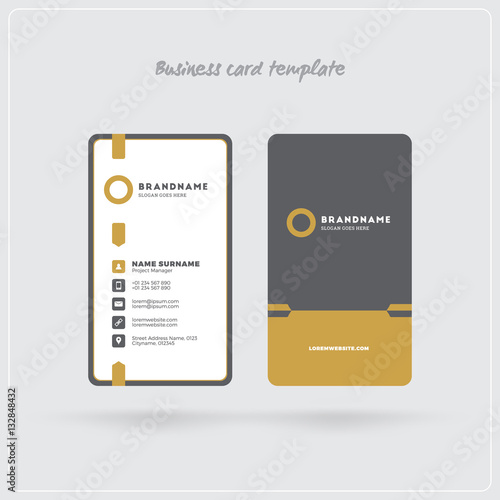 Golden And Gray Vertical Business Card Print Template Double Sided
