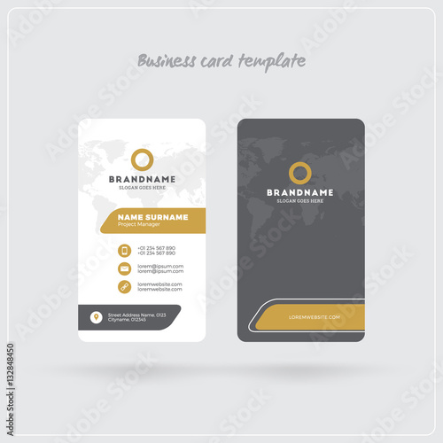 Golden and gray vertical business card print template double sided golden and gray vertical business card print template double sided personal visiting card with reheart Images