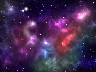 Colorful outer space galaxy nebula gas clouds bright shining stars purple pink aqua blue