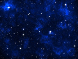 Outer space galaxy design dark blue clouds and shining stars