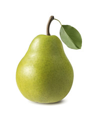 Single green anjou pear isolated on white background