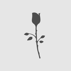 Rose vector icon eps 10. Flower symbol. Simple isolated illustration.
