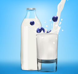 Vector milk splash in glass with bluberry