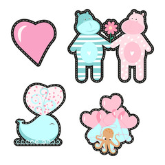 Fashion patch badges with love elements for Valentines day. Vector illustration isolated on white background. Set of stickers, pins, patches in cartoon 80s-90s pop-art style.