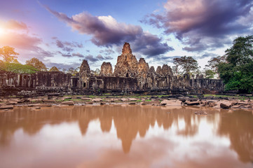 Bayon Temple with giant stone faces, Angkor Wat, Siem Reap, Camb