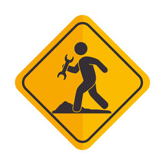 construction signal worker icon vector illustration design