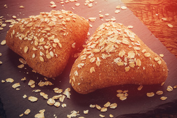 Oat bread. Homemade pastries. Cereal. Healthy eating.