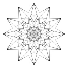 Vector Illustration - Abstract Print for Coloring. Mandala, Star, Flower. Round Ornament Pattern. Coloring Page.