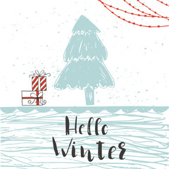 Set of 4 cute unique cards with quote Hello winter. Easy editable template. Vector illustration