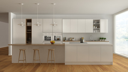 Scandinavian white kitchen with wooden and white details, minima