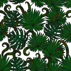 Tropical island seamless pattern.