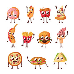 Cartoon logo, fast food characters icons
