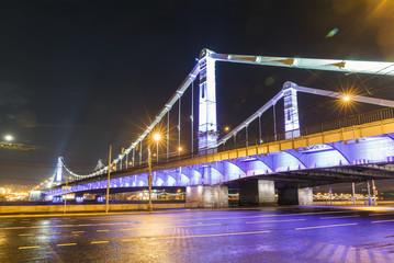 Krymsky Bridge at night, steel suspension in Moscow