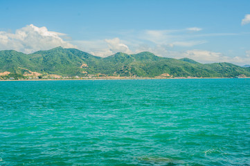 View of the Nha Trang and the hills from Hon Chong cape, Garden stone, popular tourist destinations at Nha Trang. Vietnam