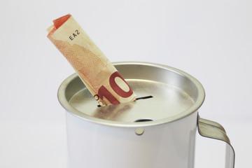 Spendendose Spardose mit 10,00 Euroschein