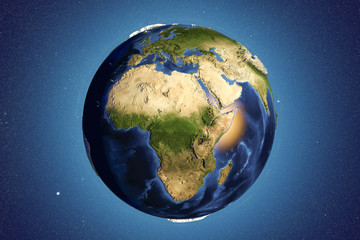 Planet Earth from space showing Africa with enhanced bump,3D illustration, Elements of this image furnished by NASA