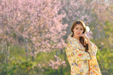 Asian woman wearing traditional japanese kimono,Japan sakura ,Japan kimono