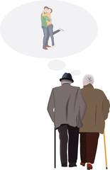 penrsona anziane pensano anni passati