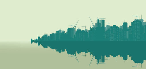 Illustration, landscape of a very large city.
