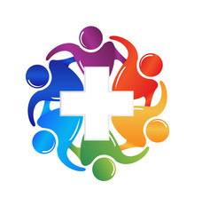 Logo teamwork helping people