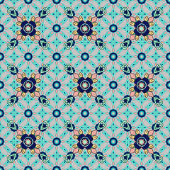 Seamless abstract detailed bright ethnic pattern