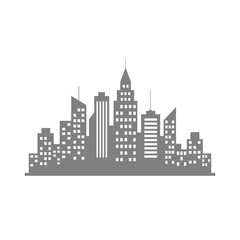 Grey city vector icon on white background