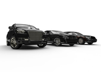 Luxury transportation / 3D render image representing an luxury car hire fleet