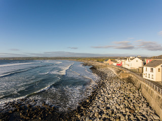 Aerial view of Ireland's top surfing town and beach in Ireland.