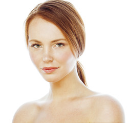 spa picture attractive happy smiling lady young red hair isolated on white close up, lifestyle people concept